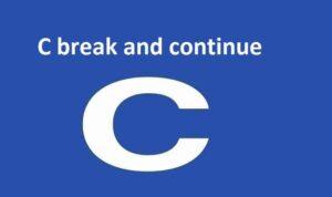 C break and continue